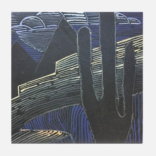 Saguaro #2 The Dark Sentinel Tile Coaster