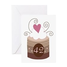 42nd Birthday Cupcake Greeting Card