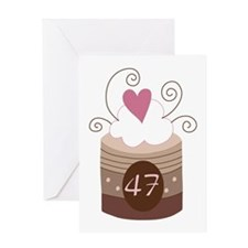 47th Birthday Cupcake Greeting Card