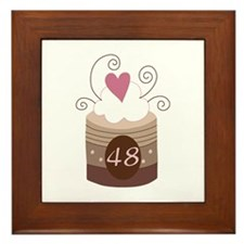 48th Birthday Cupcake Framed Tile