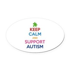 Keep Calm And Support Autism Oval Car Magnet