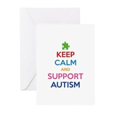 Keep Calm And Support Autism Greeting Cards (Pk of