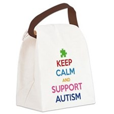 Keep Calm And Support Autism Canvas Lunch Bag