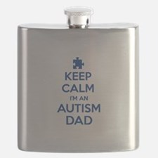 Keep Calm I'm An Autism Dad Flask