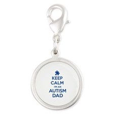 Keep Calm I'm An Autism Dad Silver Round Charm