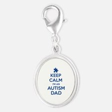 Keep Calm I'm An Autism Dad Silver Oval Charm