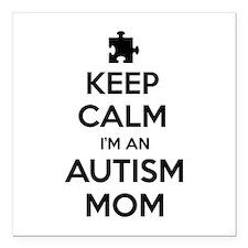 """Keep Calm I'm An Autism Mom Square Car Magnet 3"""" x"""
