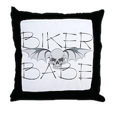 Bat Skull Biker Babe Throw Pillow