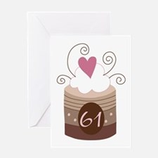 61st Birthday Cupcake Greeting Card