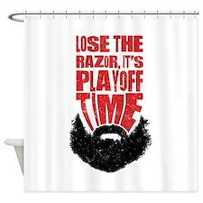Playoff Beard, Hockey, Baseball Shower Curtain