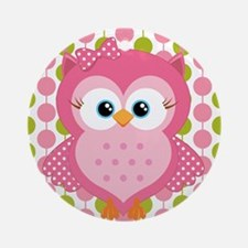 Pink Owl on Pink and Green Ornament (Round)