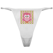 Pink Owl on Pink and Green Classic Thong