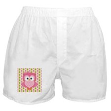 Pink Owl on Pink and Green Boxer Shorts