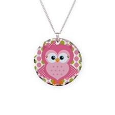 Pink Owl on Pink and Green Necklace
