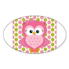 Pink Owl on Pink and Green Decal