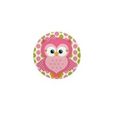 Pink Owl on Pink and Green Mini Button
