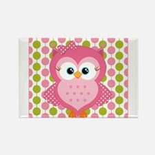 Pink Owl on Pink and Green Rectangle Magnet