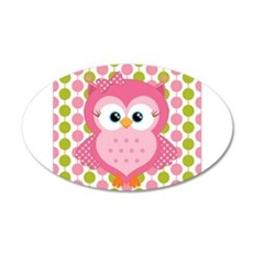 Pink Owl on Pink and Green Wall Decal
