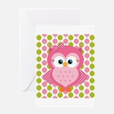 Pink Owl on Pink and Green Greeting Card