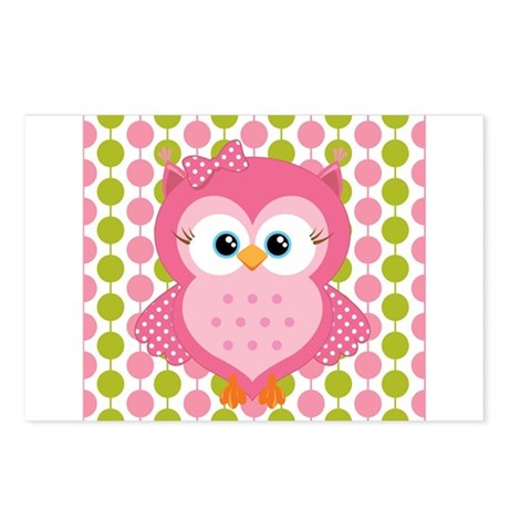 Pink Owl on Pink and Green Postcards (Package of 8