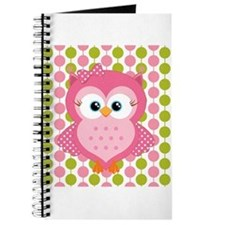 Pink Owl on Pink and Green Journal