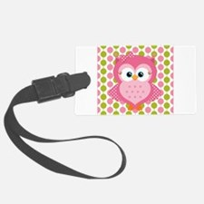 Pink Owl on Pink and Green Luggage Tag