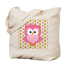 Pink Owl on Pink and Green Tote Bag