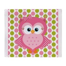Pink Owl on Pink and Green Throw Blanket