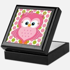 Pink Owl on Pink and Green Keepsake Box