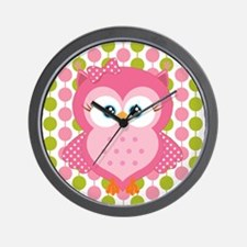 Pink Owl on Pink and Green Wall Clock