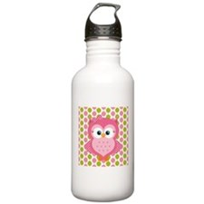 Pink Owl on Pink and Green Water Bottle