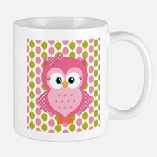 Pink Owl on Pink and Green Mug