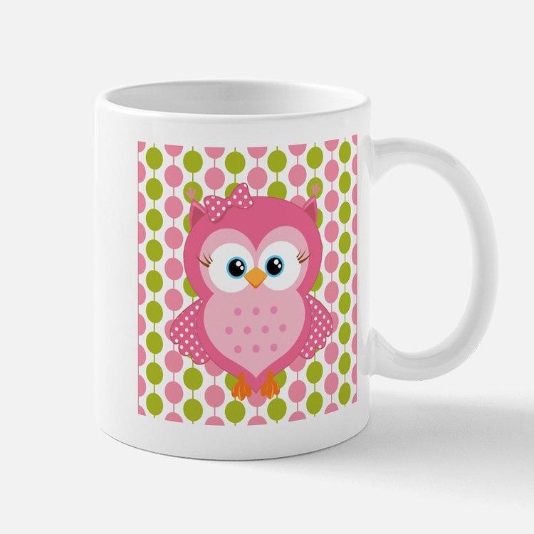 Pink Owl on Pink and Green Mug