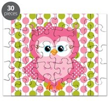 Pink Owl on Pink and Green Puzzle