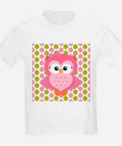 Pink Owl on Pink and Green T-Shirt