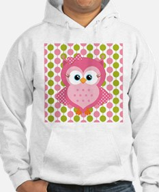Pink Owl on Pink and Green Hoodie