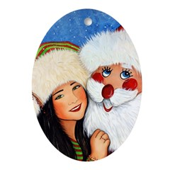 Dancing with Santa Oval Ornament