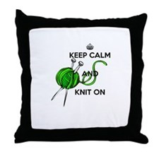 Keep Calm and Knit On Throw Pillow