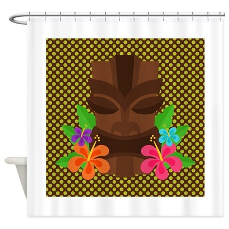 Tiki Mask on Green and Brown Shower Curtain