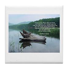 """Matthew 11:28-30 """"Driftwood Tile Coaster"""