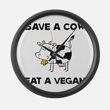 Save Cow Vegan Large Wall Clock