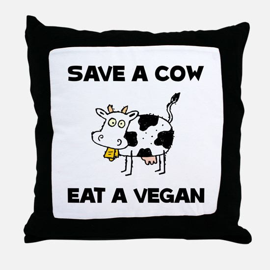 Save Cow Vegan Throw Pillow