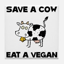Save Cow Vegan Tile Coaster
