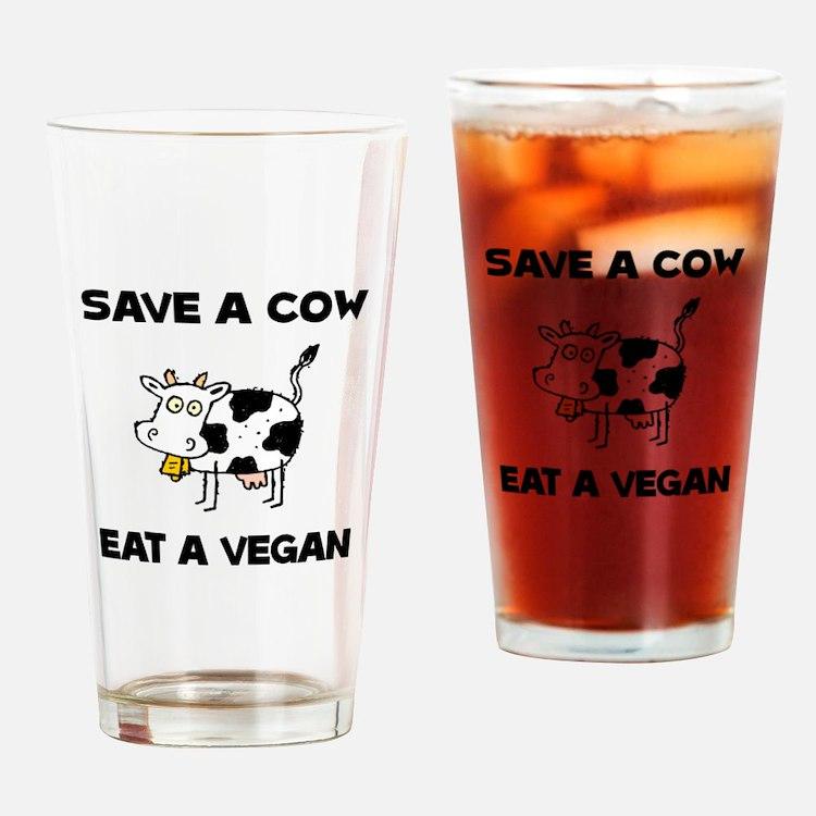 Save Cow Vegan Drinking Glass