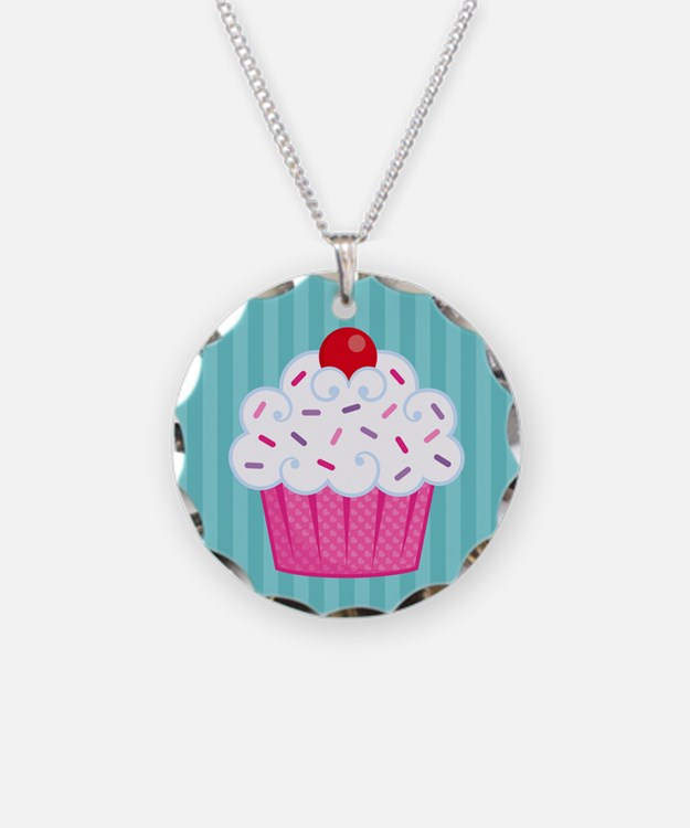 Pink Cupcake on Blue Necklace