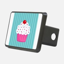 Pink Cupcake on Blue Hitch Cover