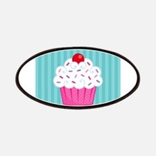Pink Cupcake on Blue Patches