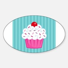 Pink Cupcake on Blue Decal