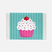 Pink Cupcake on Blue Rectangle Magnet