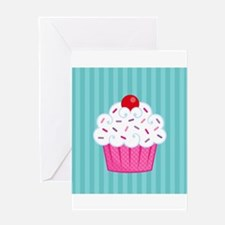 Pink Cupcake on Blue Greeting Card